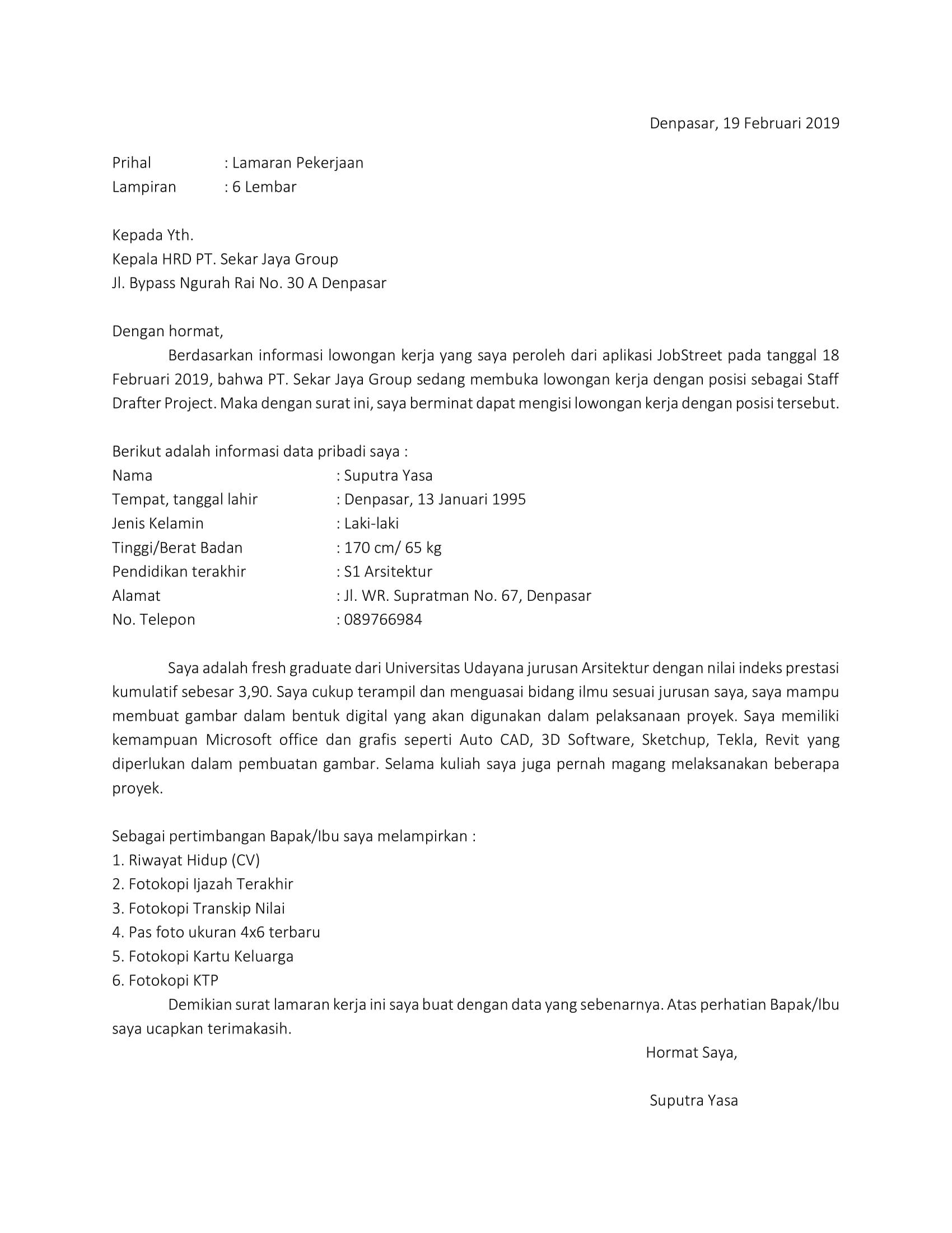Contoh Surat Lamaran Kerja Tulis Tangan Fresh Graduate Nusagates