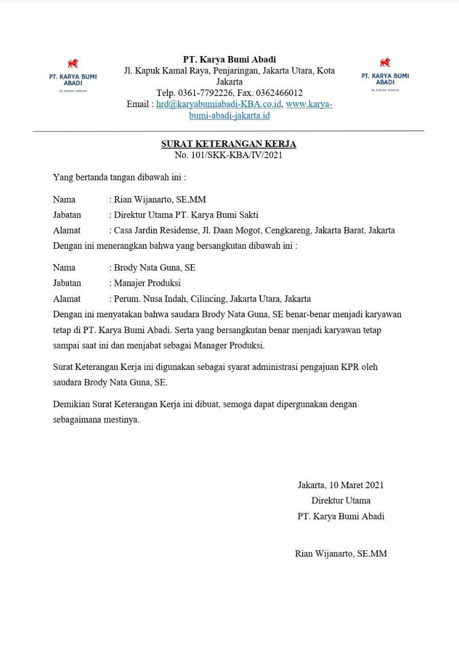 Contoh Surat Keterangan Kerja Untuk Pengajuan KPR di Bank