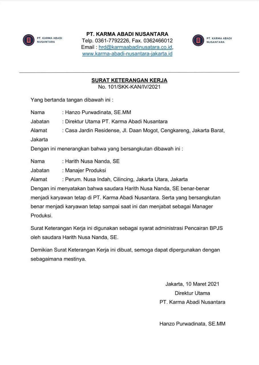 Contoh Surat Keterangan Kerja untuk Pencairan BPJS